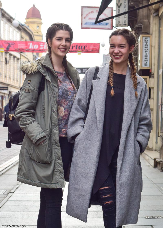 Zagreb street style frizure kako isplesti pletenice street style look frendice Paula Vuko i Adriana Vidović