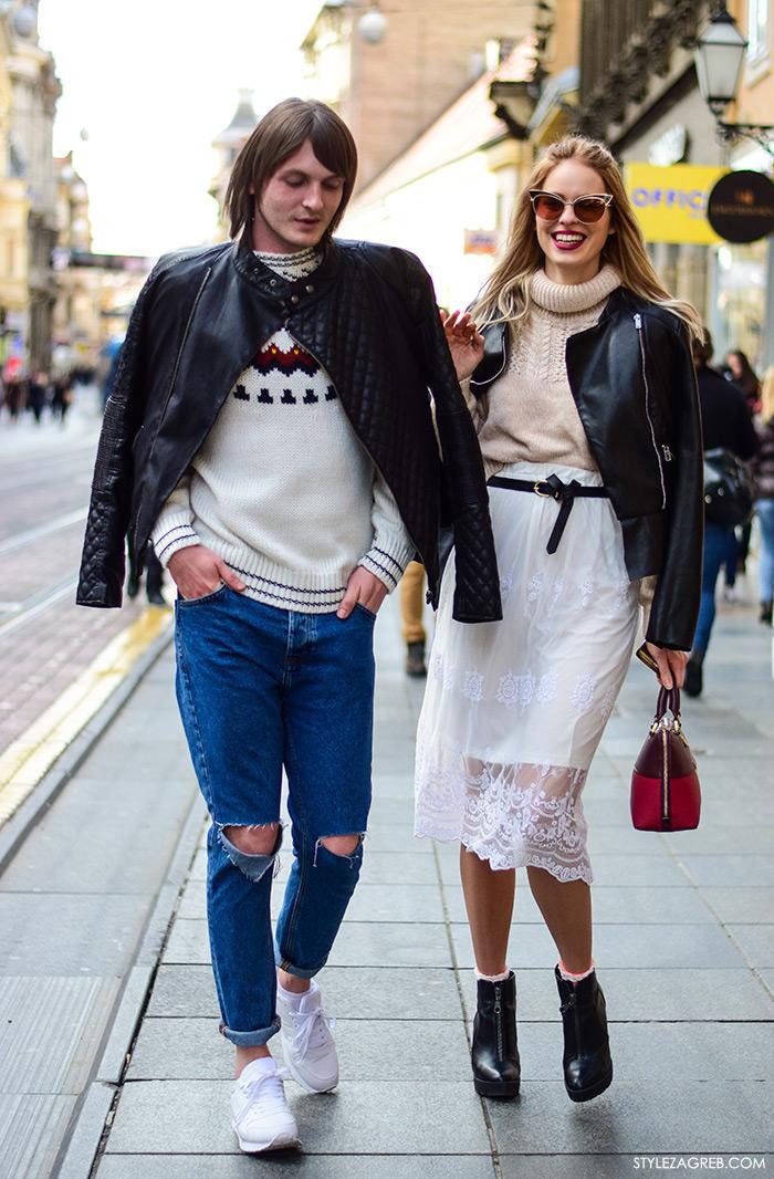 Zagreb street style stylish frendovi Antonella Bačić instagram Marin Goluža, ulična moda zagrebačka špica, muški stil: kako kombinirati bajkersku jaknu, poderane traperice i bijele tenisice, ženski stil: kako kombinirati bajkersku jaknu, dolčevitu i suknju od čipke