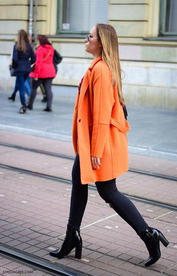 Zagreb street style, proljetna moda jakne, narančasta blejzer sako jakna i uske traperice,, stylezagreb,
