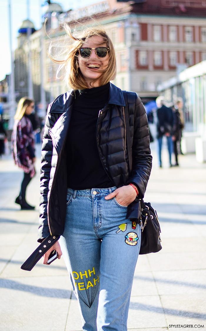 ulična moda izvezeni traper šljokice i štepana bajkerska jakna kako kombinirati street style Zagreb Maja Bučar, fizioterapeutkinja