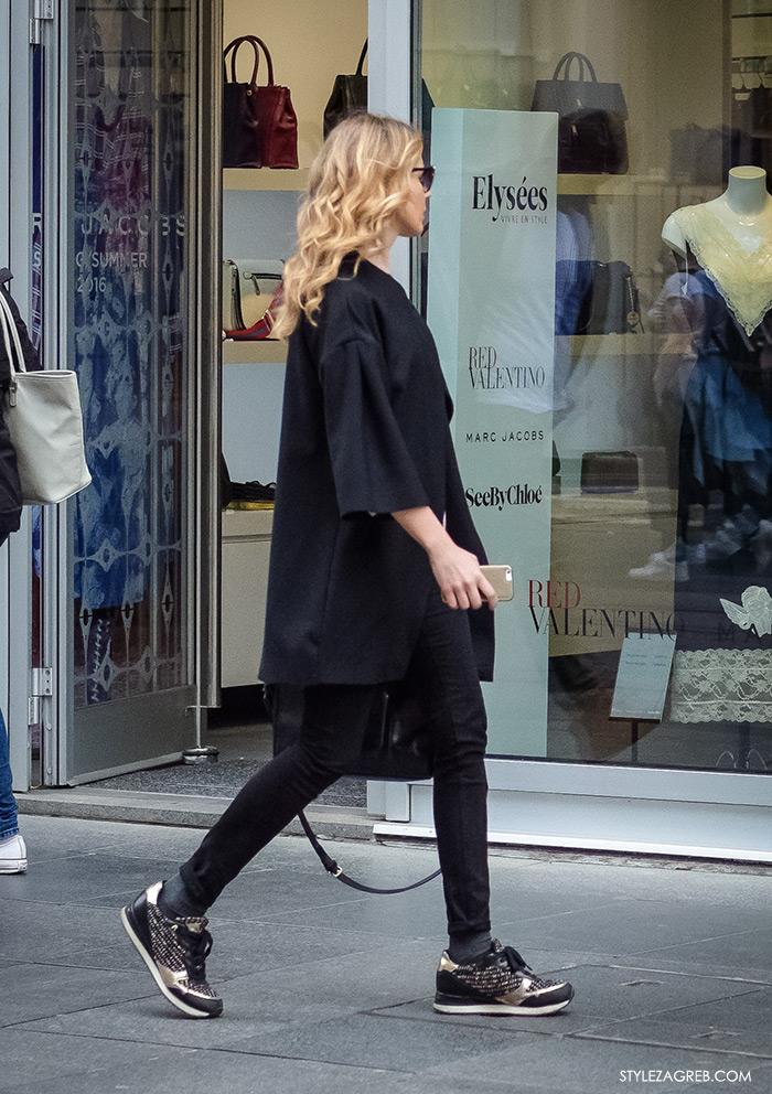 Proljetna moda 2016, street style žena moda fashion hr Zagreb, crne traperice, metalik crne tenisice