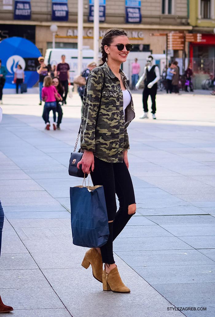 Stylish Marija Knezović Instagram, online trgovina zanimljive military jakne, street style Zagreb ulična moda, jakna maskirni uzorak, podrapane traperice