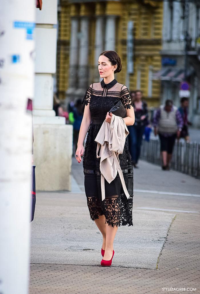 Self Portrait crna haljina i crvene štikle, Street style Zagreb, ženska elegantna odjeća za vjenčanja, što odjenuti za vjenčanje, špica Trg bana Jelačića i Ilica