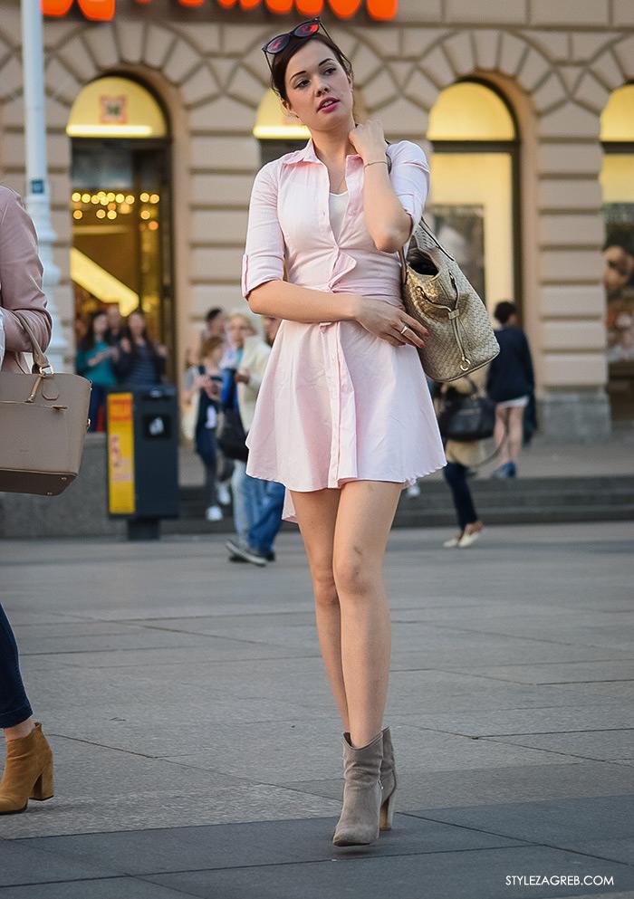 Mala roza haljina, street style Zagreb ulična moda, Trg bana Jelačića, lijepa žena u roza haljini košulja kroja, ženska moda