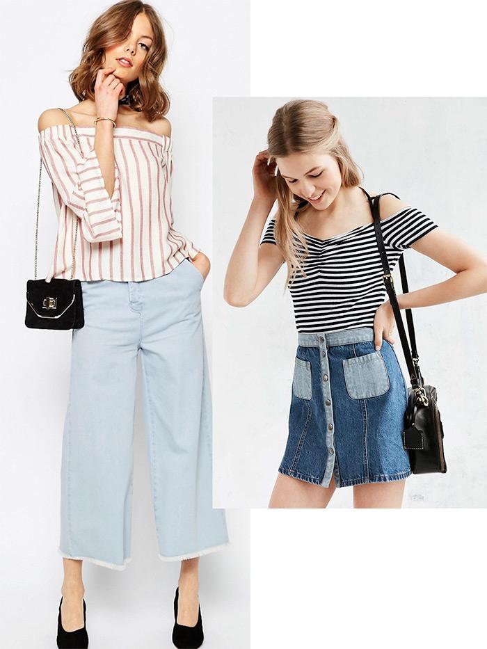 gdje kupiti prugasti topići golih ramena, off shoulder top dress, kako nositi ženska moda, street style Zagreb, online trgovina webshop