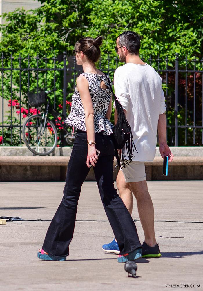 street style Zagreb Cest is d'Best program, ulična moda zagrebačka špica subota proljetna ženska moda mini haljine, off shoulder gola ramena top, trapezice peplum top sandale na platformu ženska torba s resicama slike