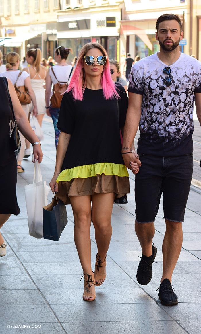 Petra Škoda Štrok Instagram, Josip Konyit, street style Zagreb Cest is d'Best program, ulična moda zagrebačka špica subota proljetna ženska moda mini haljine, pink kosa