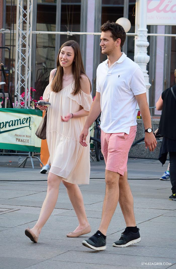 street style Zagreb Cest is d'Best program, ulična moda zagrebačka špica subota proljetna ženska moda mini haljine, off shoulder gola ramena haljina, muška moda roza bermude