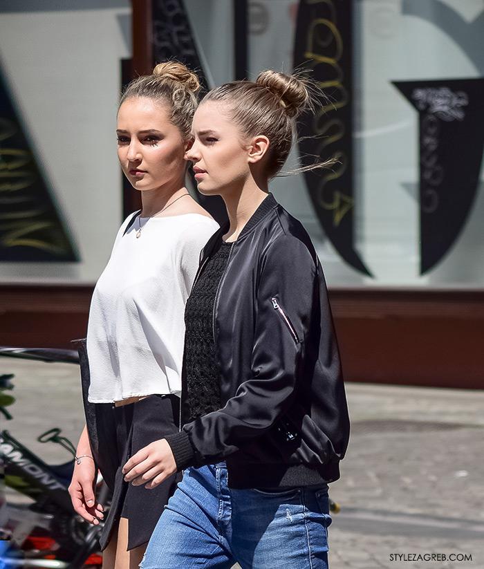 proljetna ulična moda Zagreb street style, kako svezati punđu