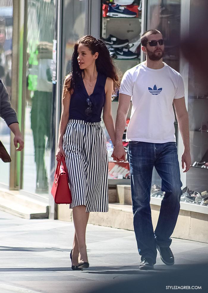 proljetna ulična moda Zagreb street style, midi prugasta suknja outfit