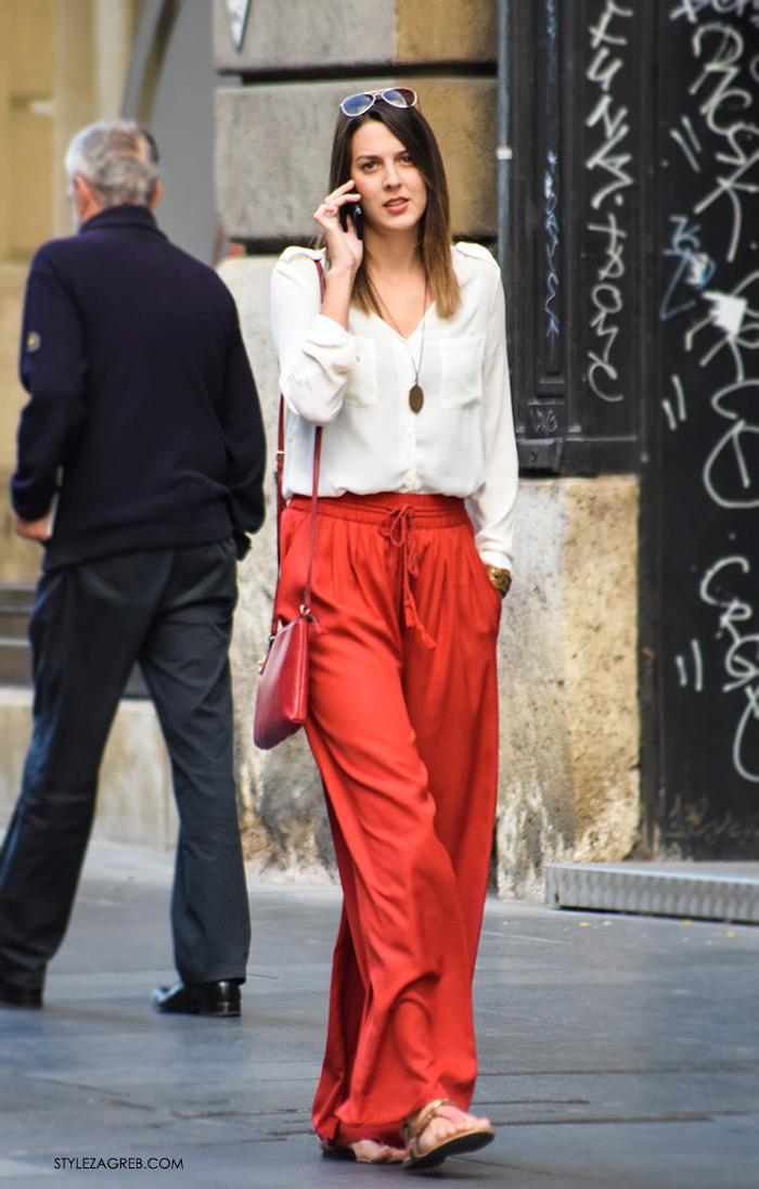 Mate Tolić Instagram, Poslovna moda 2016 jesen žena savjeti kako zagreb street style ulična moda kombinacije poslovni look outfit styling, široke lepršave crvene hlače, bijela košulja, jesen špica Zagreb