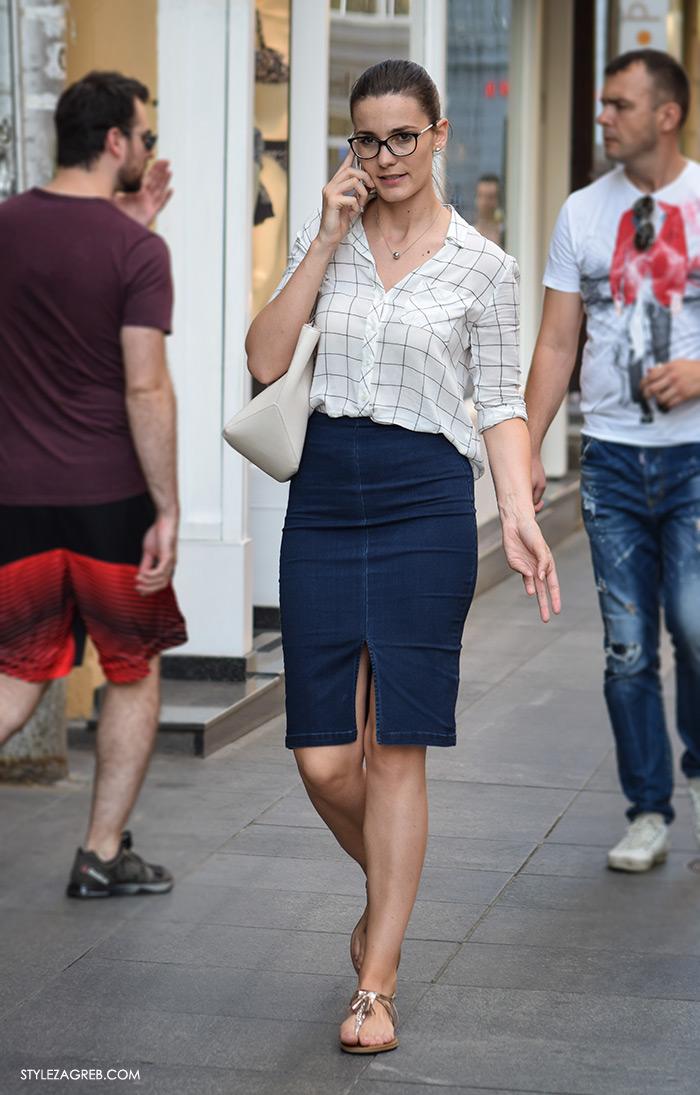 Poslovna moda 2016 jesen žena zagreb street style ulična moda kombinacije uska suknja šira široka košulja poslovni look styling