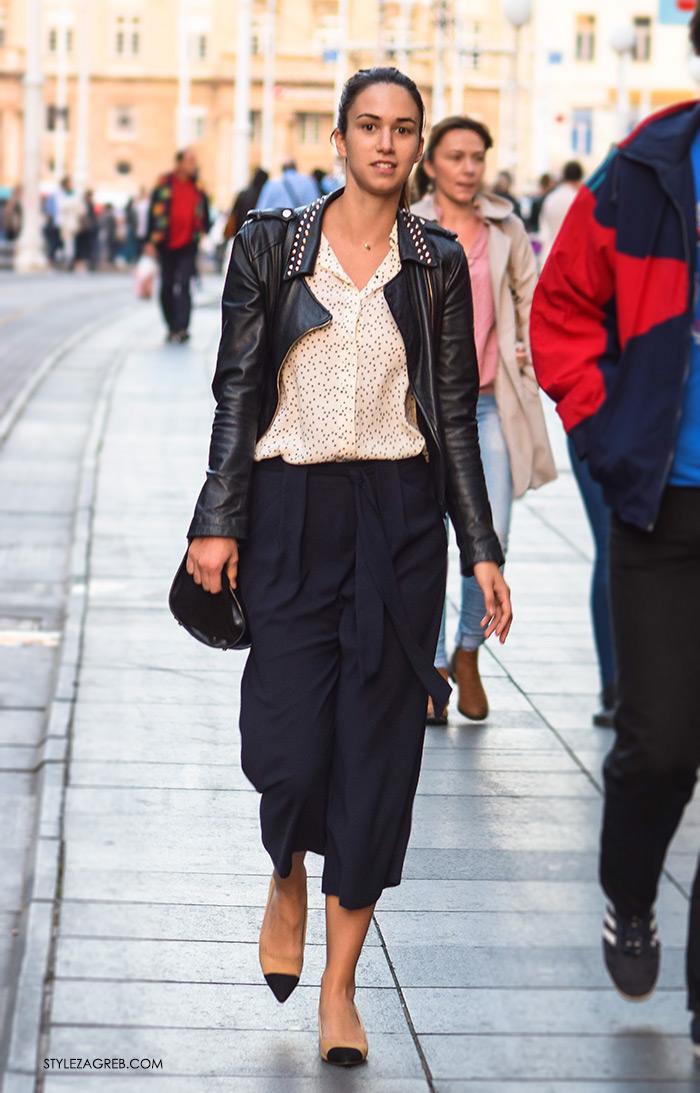 Poslovna moda 2016 jesen žena savjeti kako Zagreb street style ulična moda kombinacije poslovni look outfit styling, suknja-hlače culottes, košulja i kožna crna bajkerska jakna zakovice