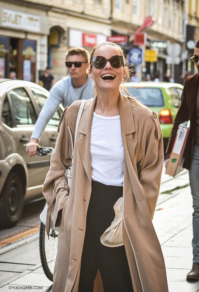 Arhitektica Nina Mia Čikeš, street style Zagreb moda stil trendovi jesen 2016 rujan, kako nositi lepršavi baloner, bijelu majicu i crne hlače, lijepa žena hr