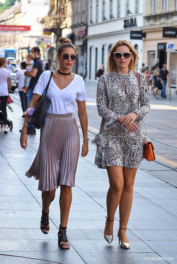 Stylish frendice, street style Zagreb, ulična moda rujan 2016, choker i plisirana suknja