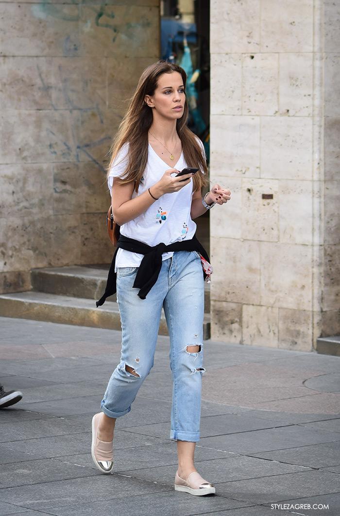 Korana Gvozdić, Moda: traperice i bijeli top Zagreb street style