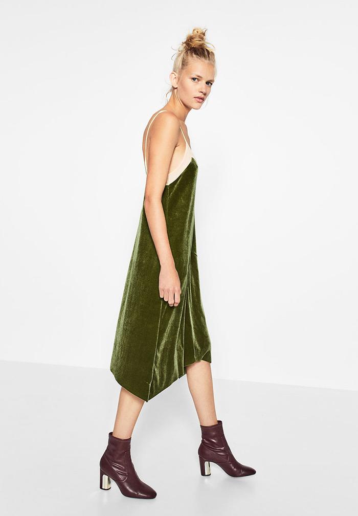 Siva i zelena baršun haljina iz Zare kombinacije