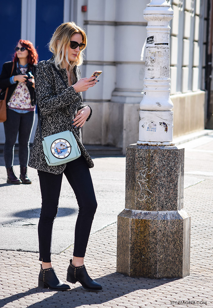 Moda jesen zima 2016 street style Zagreb, špica, kombinacija kratki blejzer sako, crne uske hlače, kako izgleda plavi lak za nokte