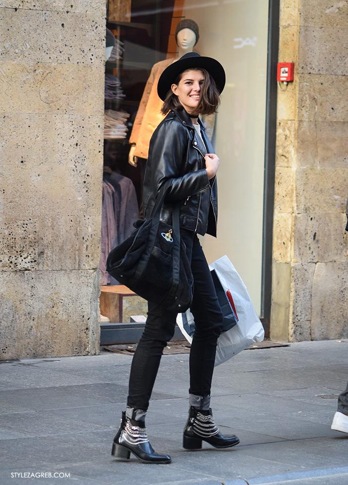 Style Zagreb šesiri moda zima 2017 street style Zagreb, Dunja Ercegović Insatgram, Lovely Quinces, crna kožna jakna, crni šešir i bajkerske čizme sa lancima