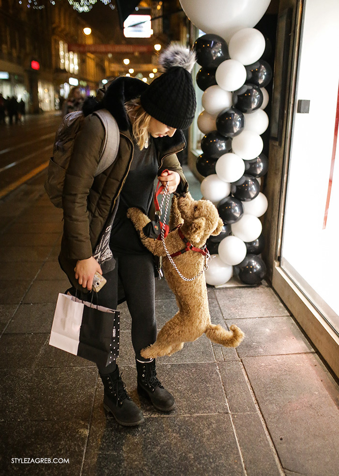 women's winter fashion what to wear street style, pretty photo of woman and a happy poodle dog