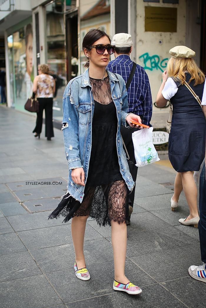 zagrebačka špica proljetna moda street style styling duže traper jakna haljina crna čipka špagerice