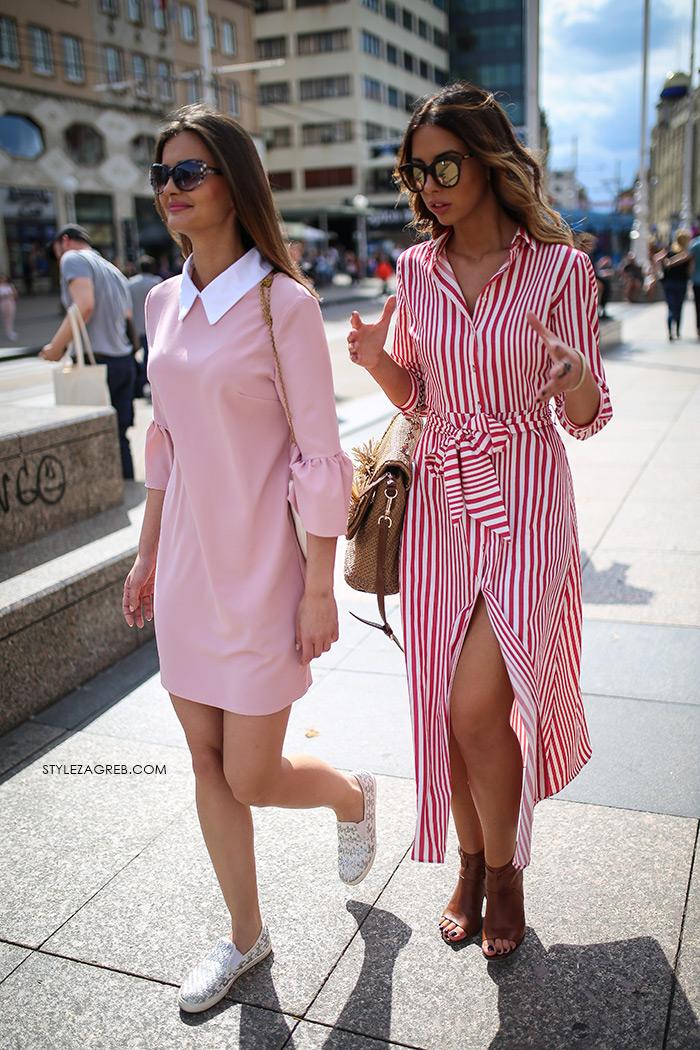 zagrebačka špica proljetna moda street style styling Zara prugasta roza košulja haljina