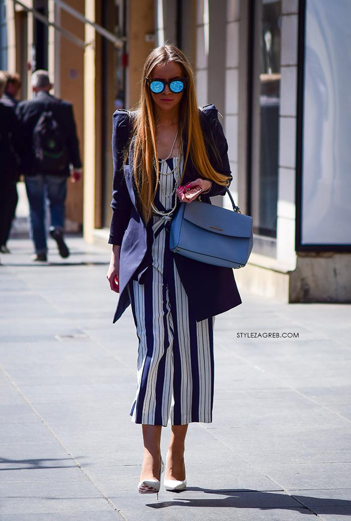 zagrebačka špica proljetna moda street style kako nositi prugaste suknja-hlače metalik naočale i bijele cipele