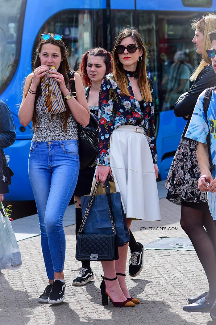 zagrebačka špica proljetna moda street style styling bijela midi suknja Marc Jacobs sunčane naočale