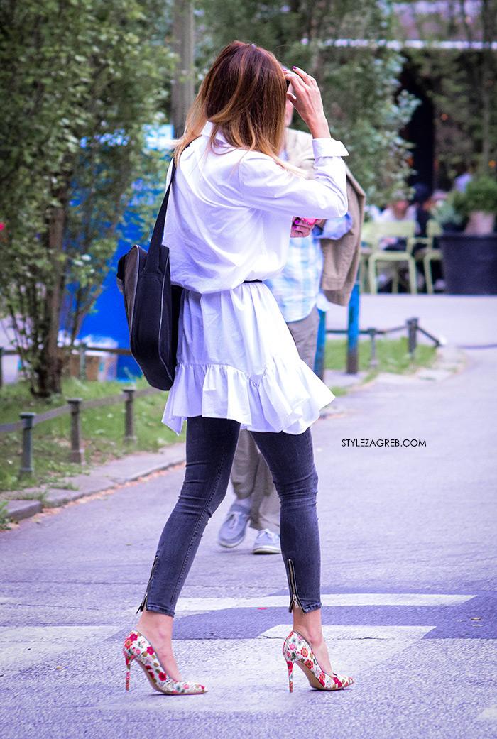 style zagreb špica zagreb danas street style slika bijela tunika s volanima cvjetaste štikle