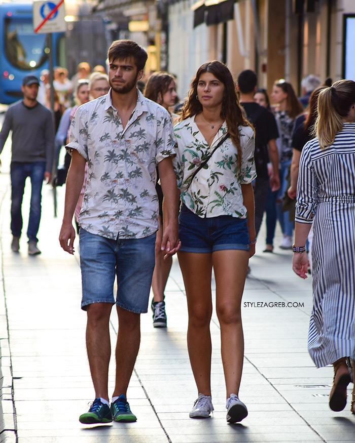 Ženska moda špica street style Zagreb kolovoz 2017 par na Ilici cvjetasta košulja traper šorc