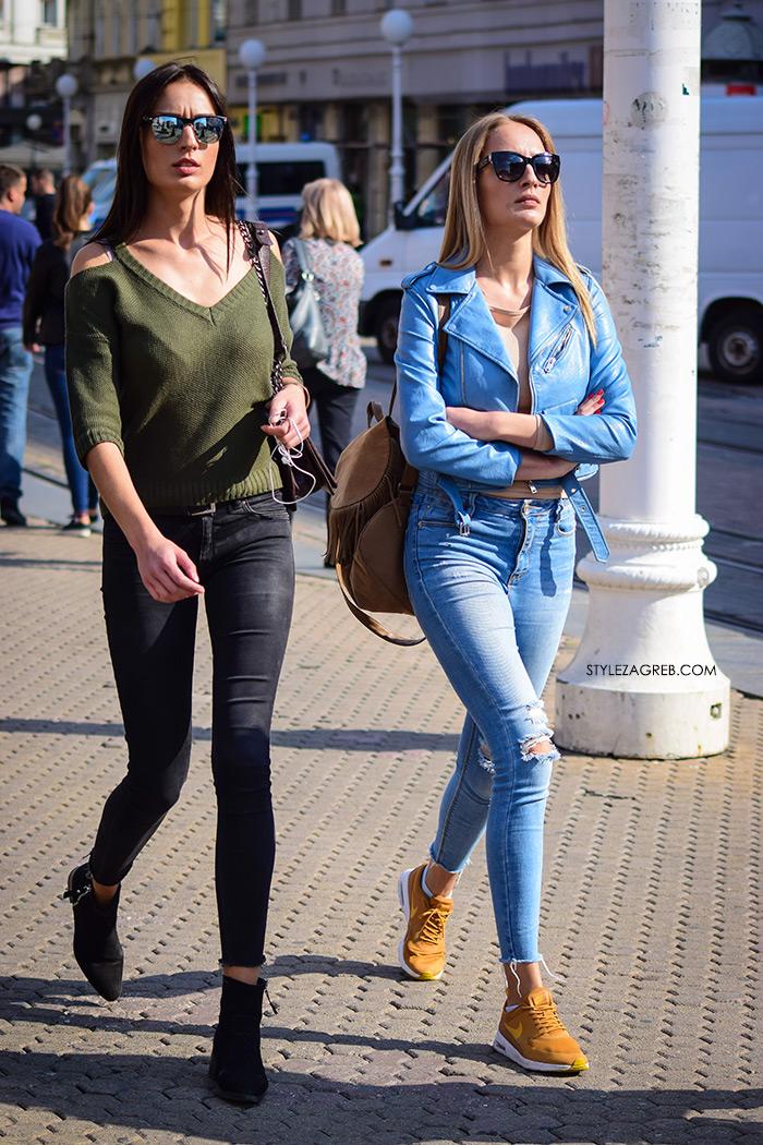 Nike žute tenisice Zara kratka plava bajkerska jakna Rujanska špica vrvi jesenskim trendovima Street style Zagreb jesenska ženska moda lijepe cure