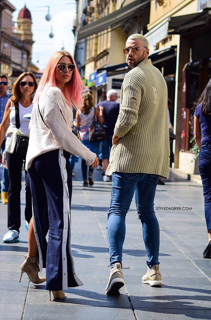 Petra Škoda Štrok i Josip Konyit: Style Zagreb street style moda stylish par špica Zageb poderani džemperi