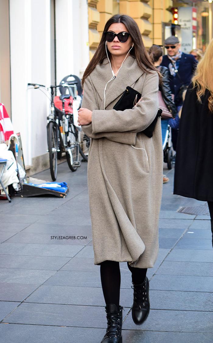 street style zagreb sivi kaput u boji devine dlake zgodna cura špica