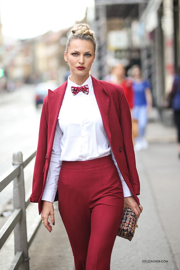 Lidija Lešić street style look crveno odijelo