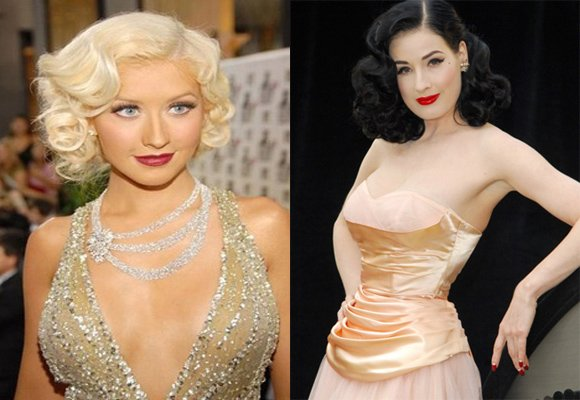 katy perry & christine Aguilera 50s hair