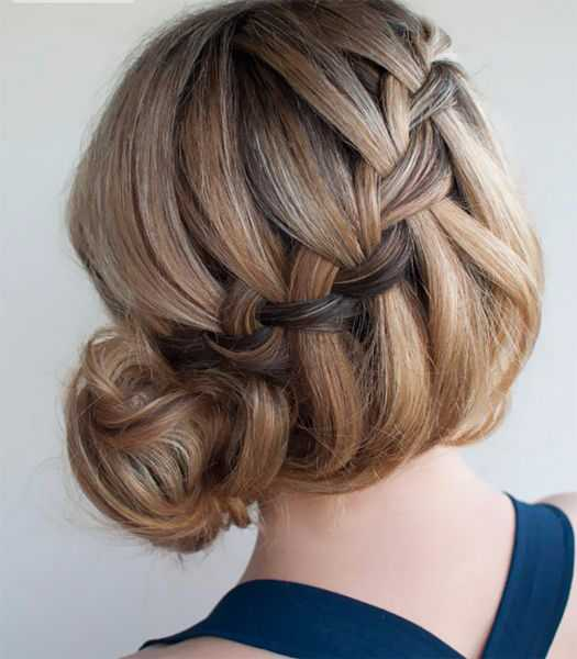 Waterfall French Braid knotted Updo for 2016