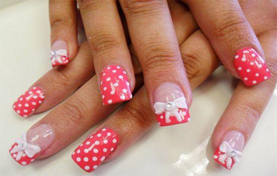 Bows and polka dots nail design