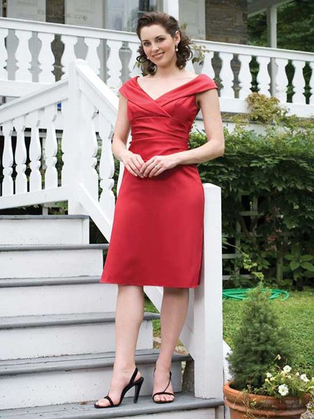 Bridesmaid Satin Dress with a V neck
