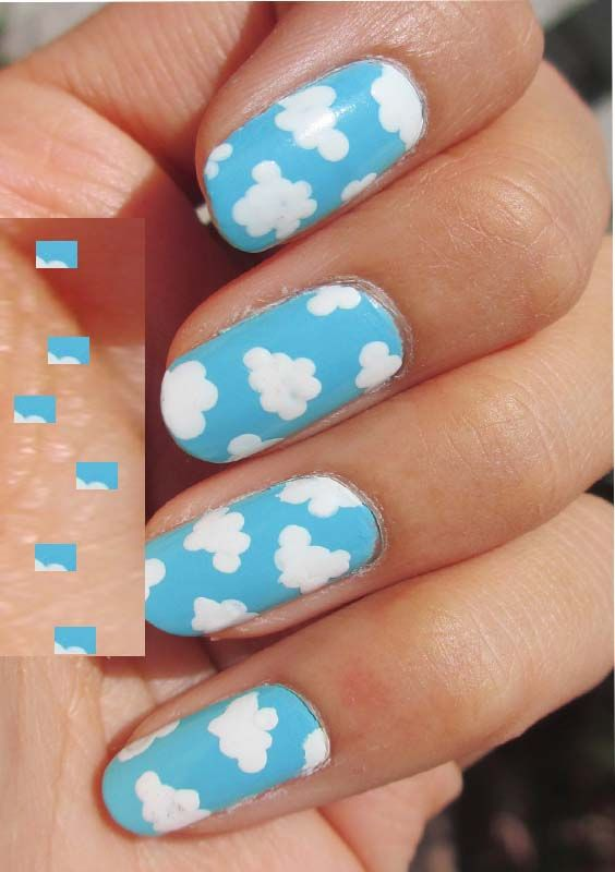 Colored Cloud Nail Designs and Nail Arts