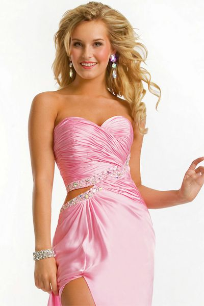 long Strapless gowns with side cut
