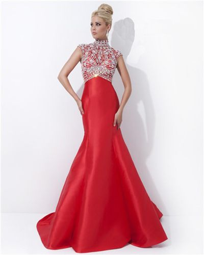 prom Modest neckline and cap sleeves