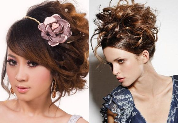Updo natural curly hairstyles for women
