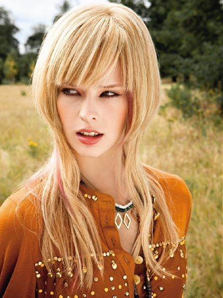 hairstyles for long faces with fringges