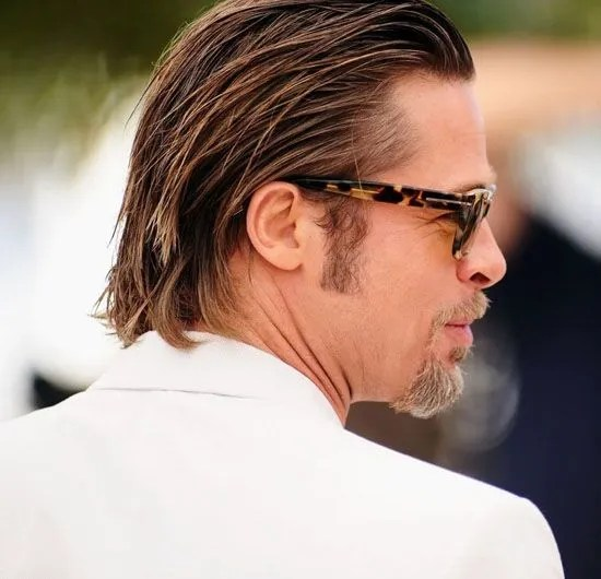 Brad Pitt Long and Slicked Back Hair 2016
