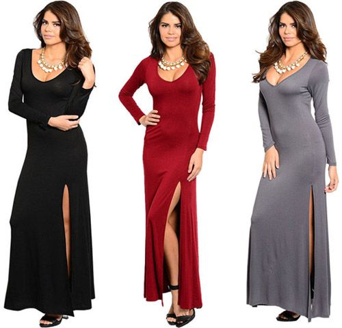 Long Flowing Maxi Evening Dress with High Neck