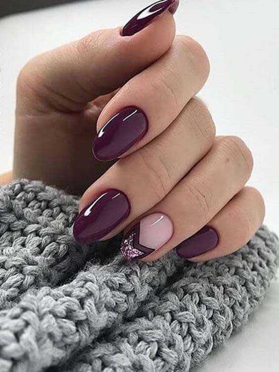Deep Purple and Glitters Nail Designs and Nail Arts