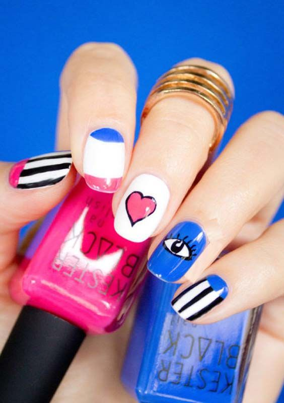 Eye Heart Shapes Nail Arts