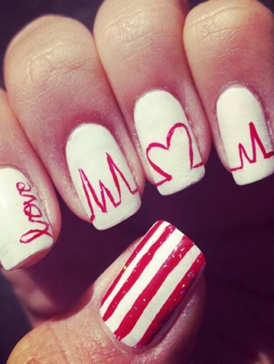 Gorgeous Heartbeat Shapes Nail Arts