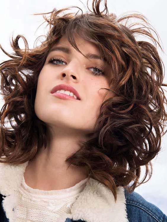 Long Bob Curly Haircuts with Bangs 2018