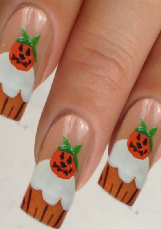 Cute Pumpkin Nail Art Designs and Images